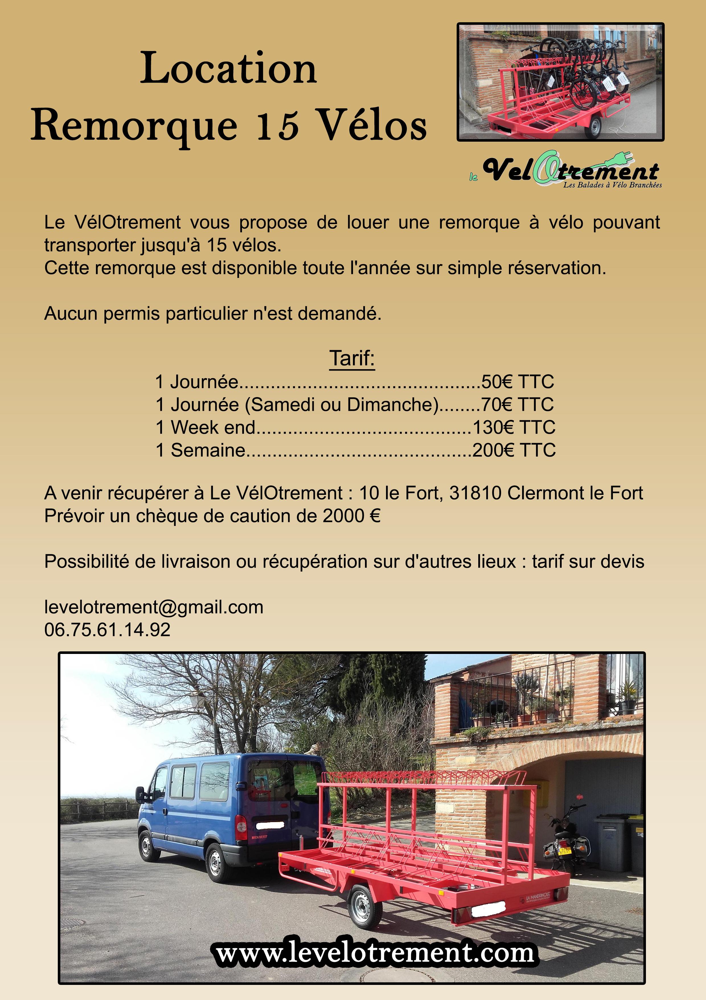 Location remorque 15 Vélos